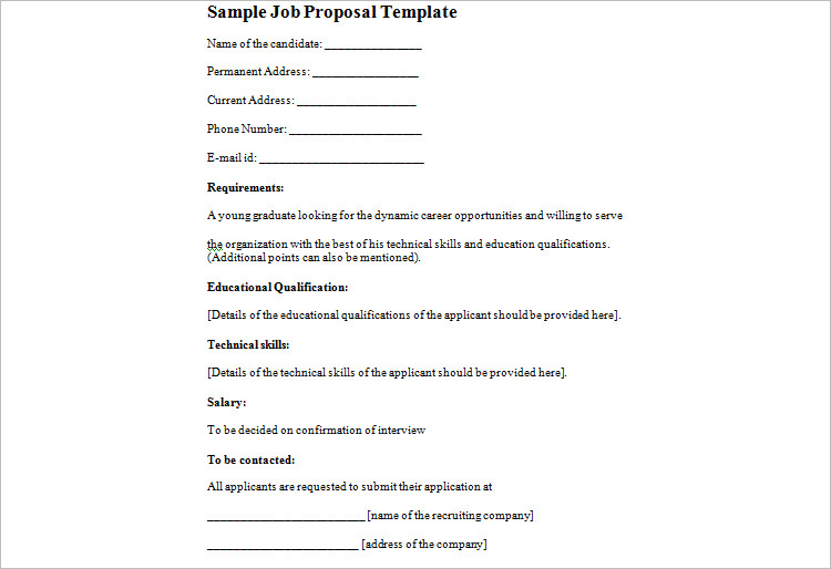 Editable Job Proposal Template Format