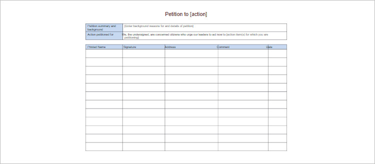 Editable Pentition Template Form