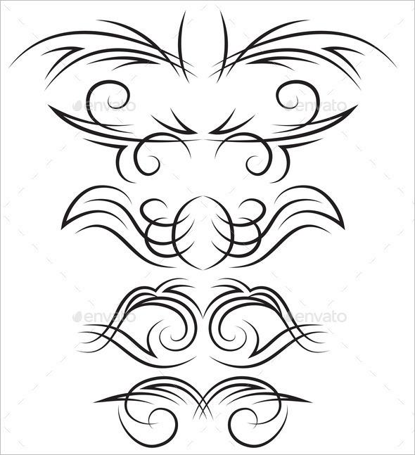 Elegant Set of Elements for Calligraphic Design