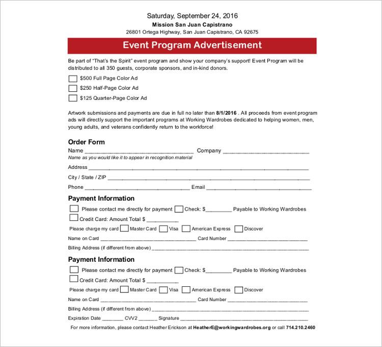 Event Program Template Form