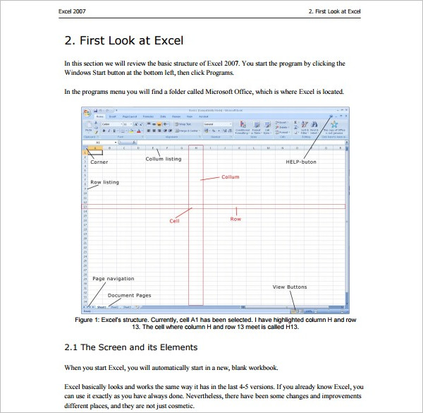 Example Microsoft Excel Template