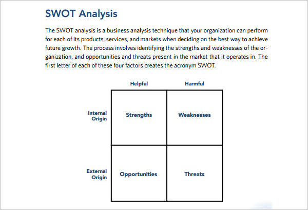 Example Swot Analysis Word Template ...  Blank Swot Analysis Template