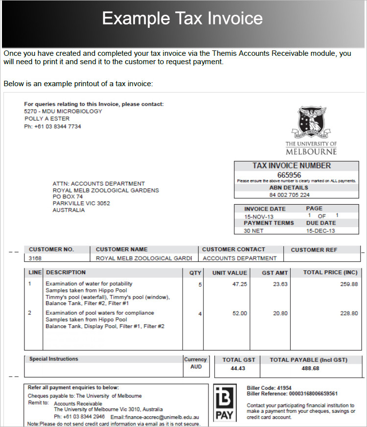 Example Tax Invoice Word Template