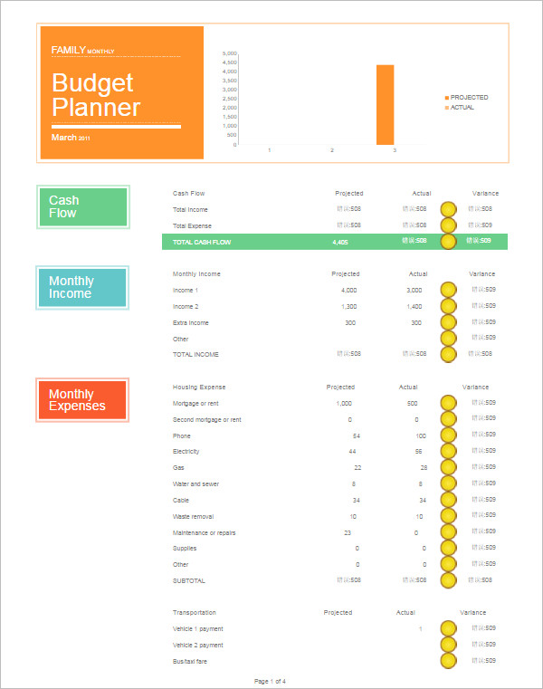 Family Monthly Budget Planner Template