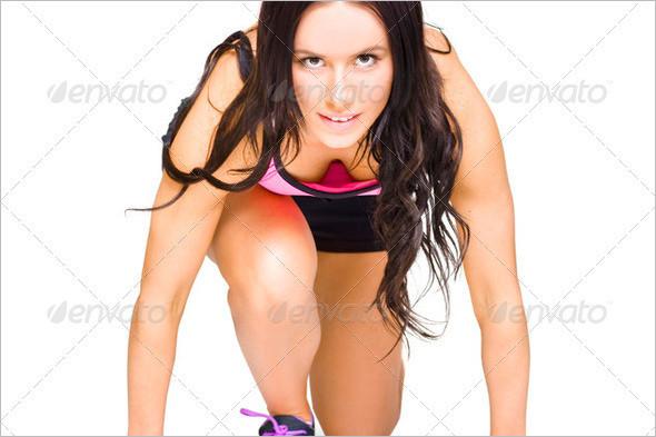 Female Marathon Runner On White Background