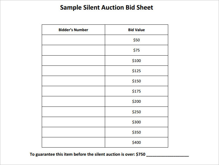 12 Silent Auction Bid Sheet Templates Free Word Excel Pdf