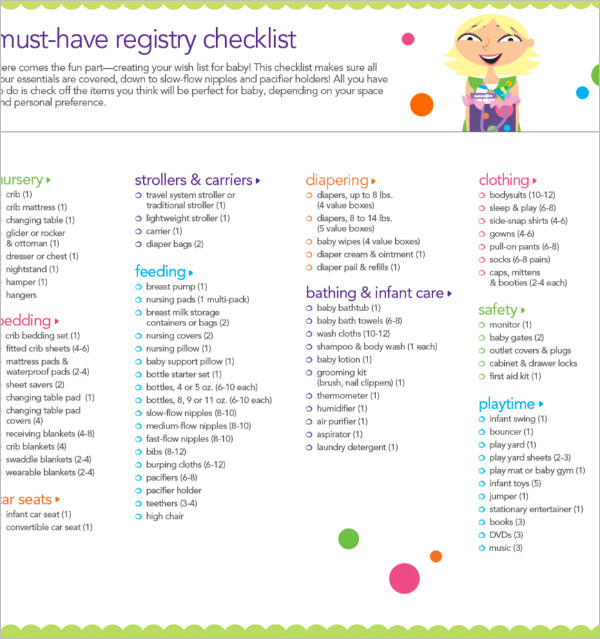 First Baby Registry Checklists Templates