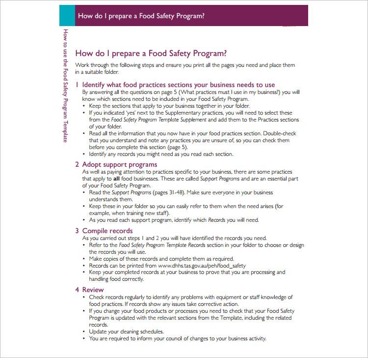Food Safety Program Template Form