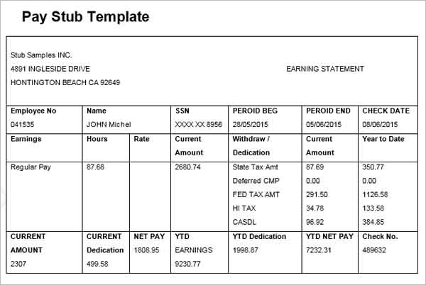 50 Pay Stub Templates Word Excel Pdf Adp Editors Generator – Payroll Stubs Templates