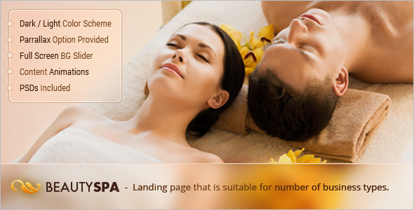 Full-Screen Spa Landing Page Template