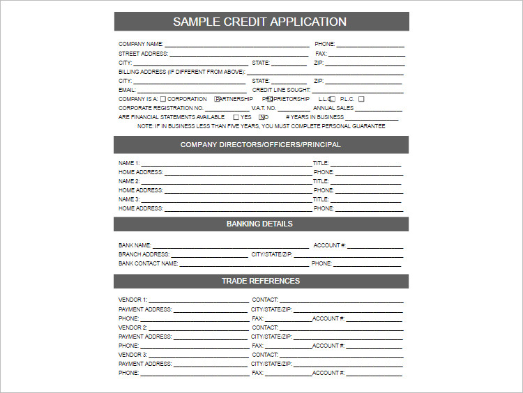 General Credit Application Template