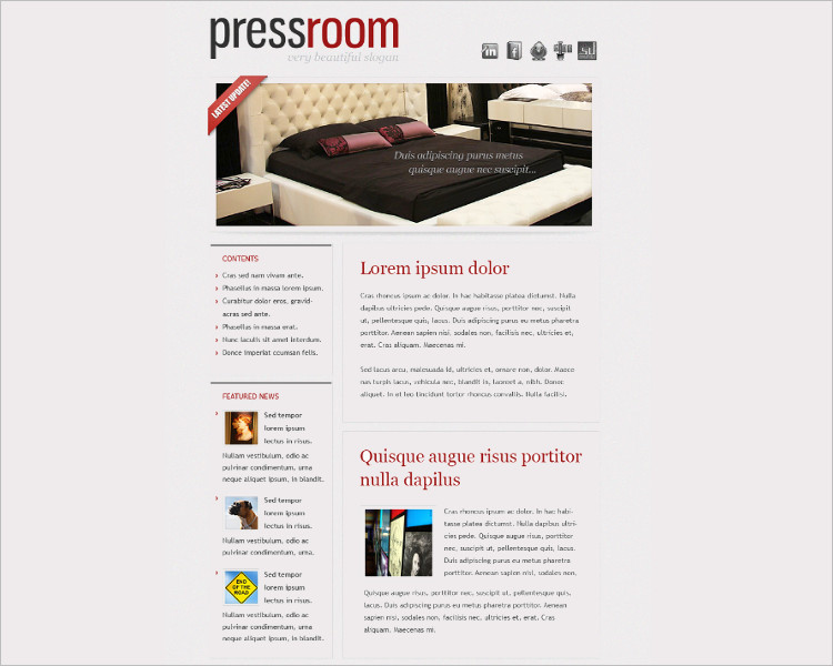 HTML Press Room Email Template