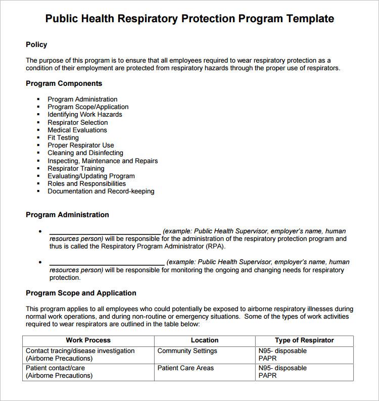 Health Program Word Document Template