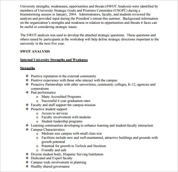 Higher Education SWOT Analysis Template