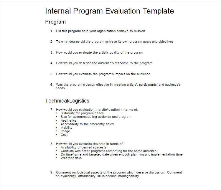 Internal Program Evalution Template
