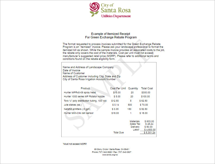 Itemized Receipt Template Excel Word