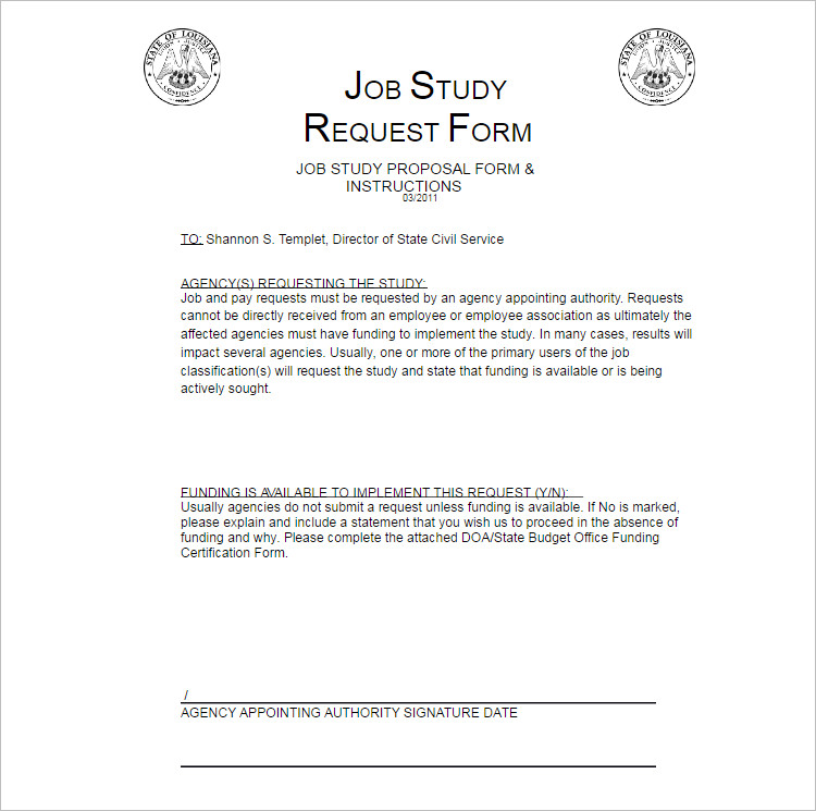 2 Job Study Proposal Template Form ...  Employment Proposal Templates