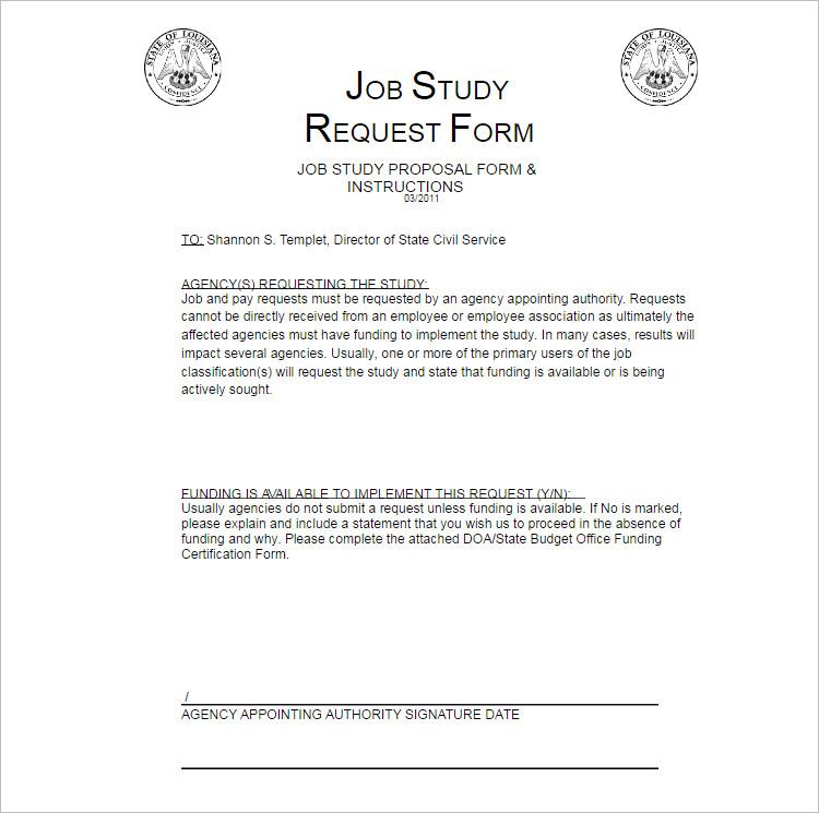 Job Study Proposal template