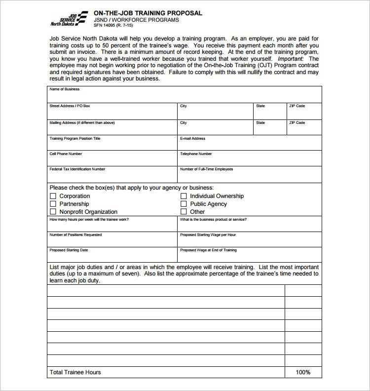 Job Traning Proposal template