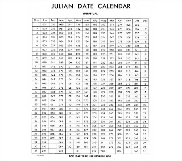 Julian Date Calendar Template