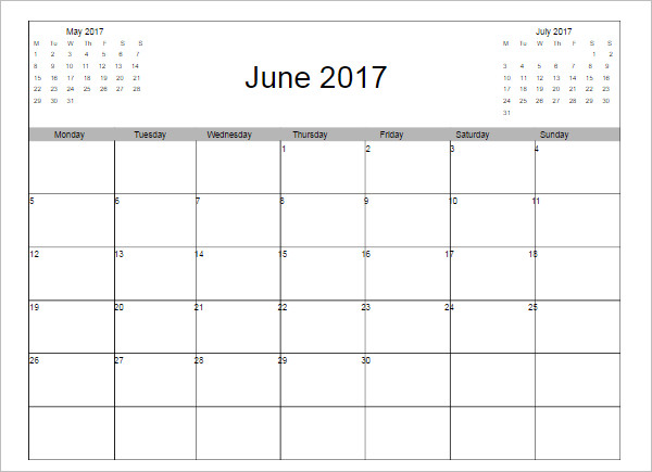 June 2017 Calendar Excel Templete