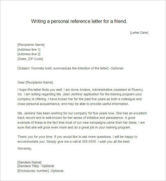 recommendation letter for a friend 55 recommendation letter template free word pdf formats 49792