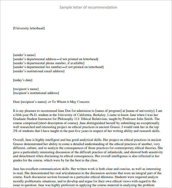 Letter of Recommendation pdf