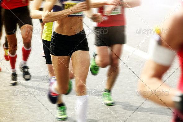 Marathon runners in Stockholm, Sweden
