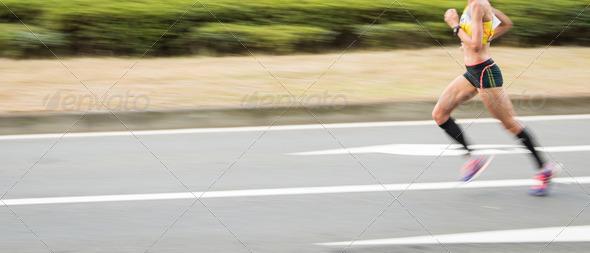 Marathon runners on the Road.
