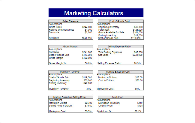 Marketing Calculators Spreadsheet Template