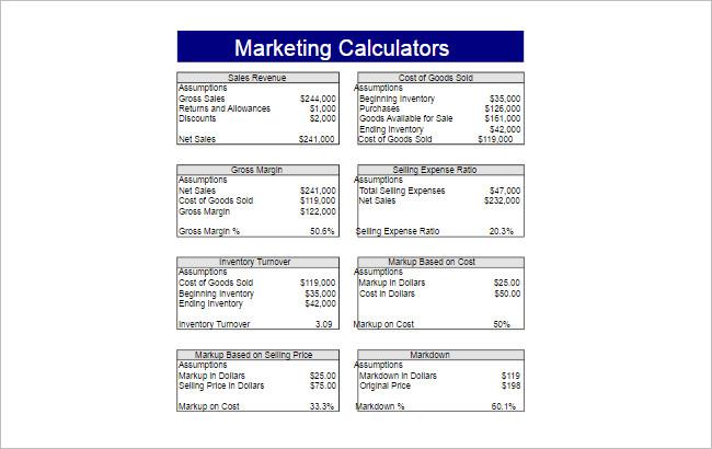 Marketing Calculators Spreadsheet Template