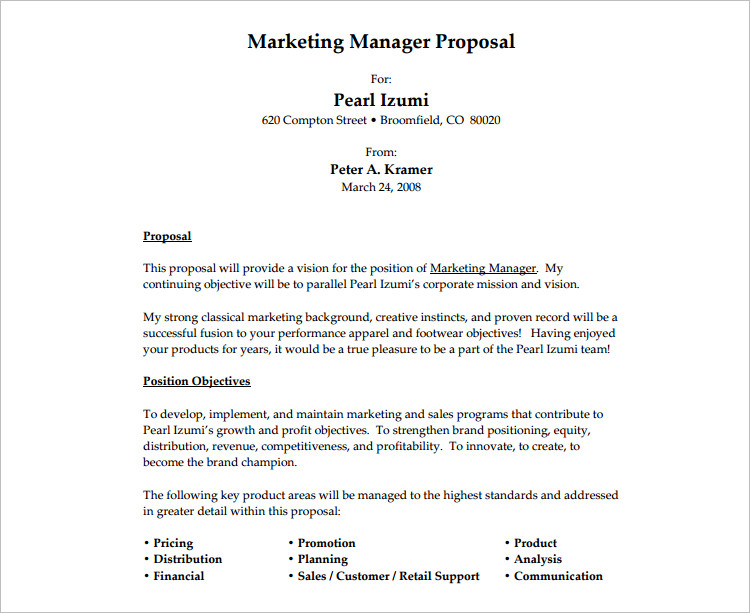 Marketing Job Proposal Template ...  Proposals Templates
