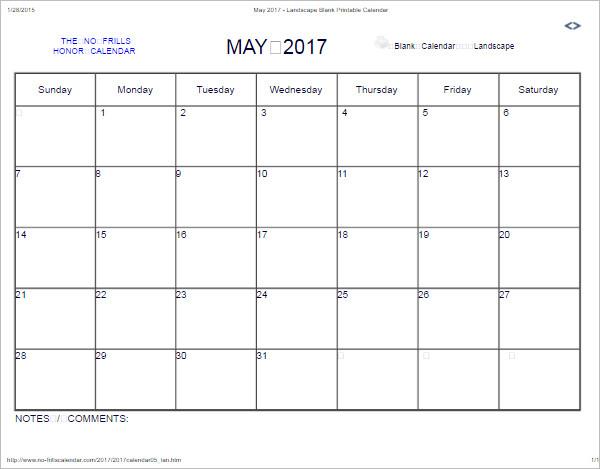 May 2017 Calendar Model Template
