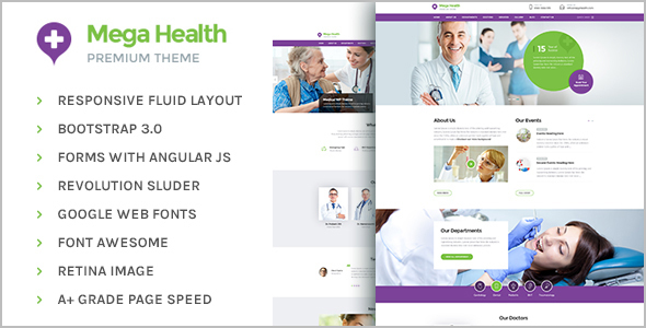 Mega Health Menu HTML Template