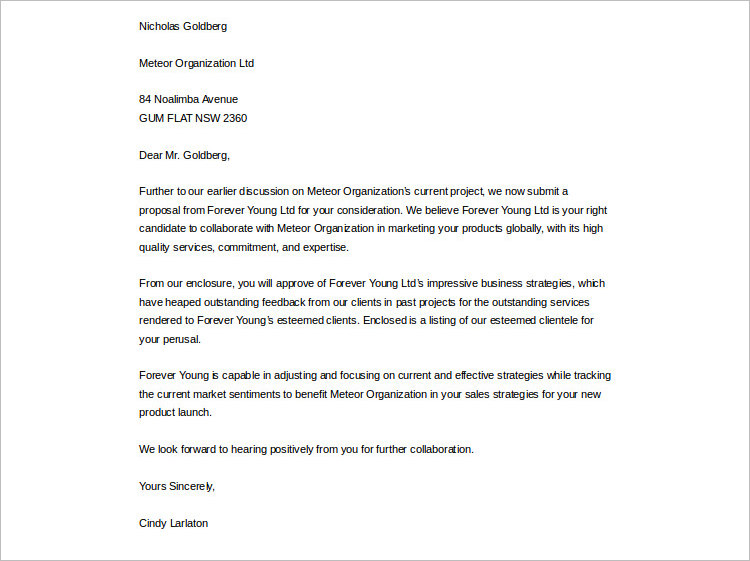 Metro Organization Proposal Letter tem[plate