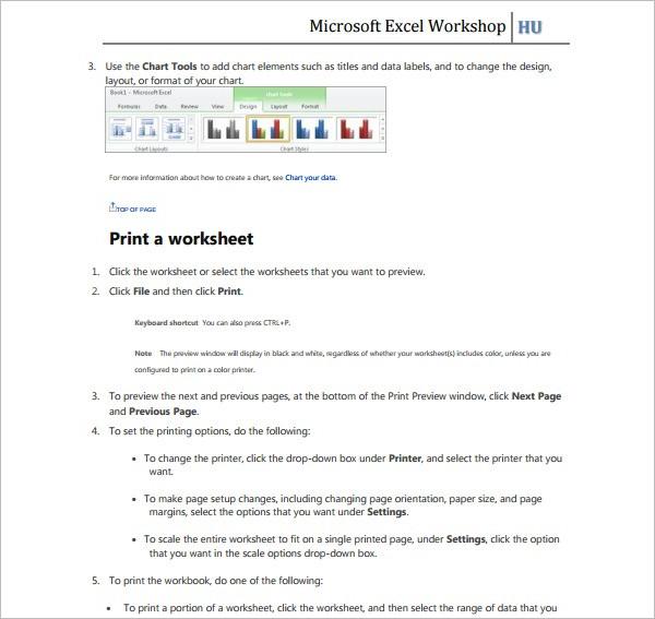 Microsoft Excel Template Wordkshop