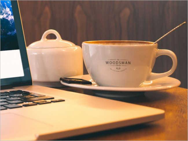 Modern Coffee Cup Table Mockup