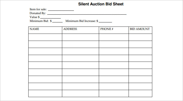 12 Best Silent Auction Bid Sheets Free Premium Templates – Bid Sheet Template Free