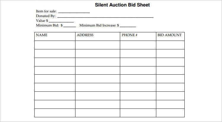 Modern Silent Auction Bid Sheet Template