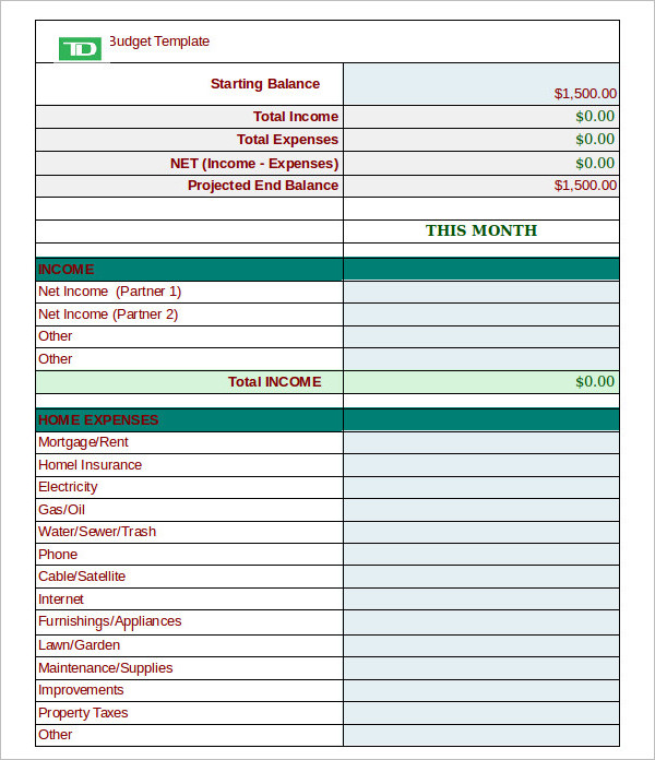 Monthly Finance Budget Planner Template