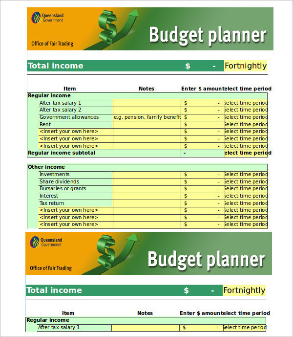 Monthly Trading Budget Planner Template