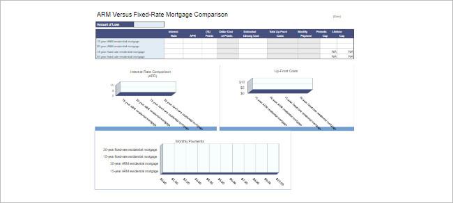 Mortgage Calculators Spreadsheet Template