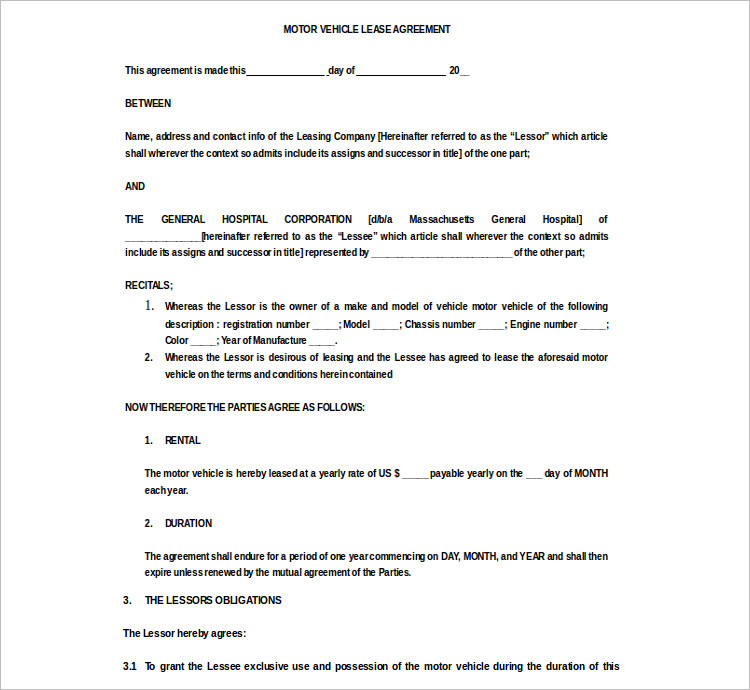 Moter Vehicle Rent Agreement Template