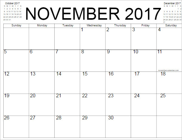 November 2017 Calendar Template Word