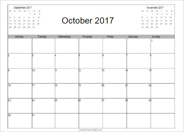 October 2017 Calendar Template Format