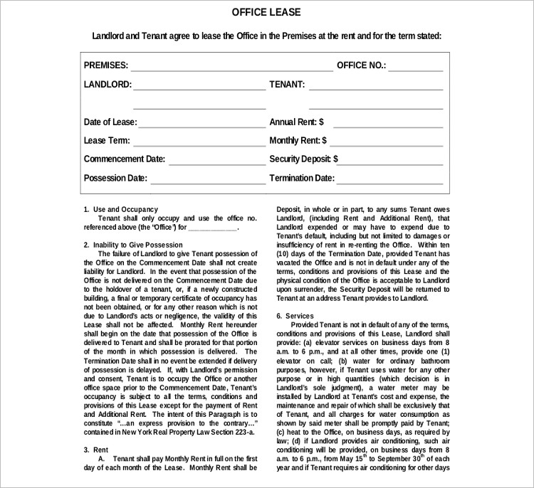 Office Rental Agreement Template Doc