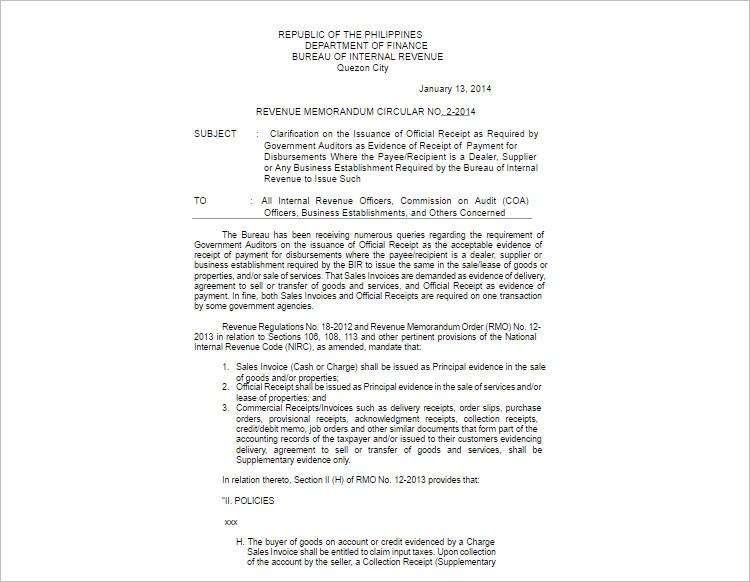Official Receipt Template Form PDF