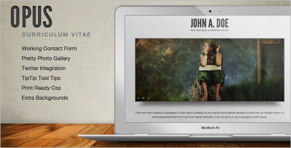 Online Resume website template