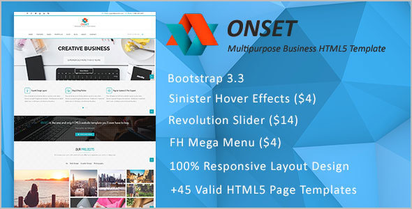 Onset HTML 5 Grid Layout Template
