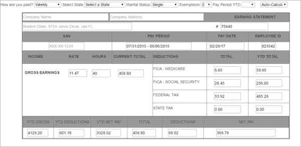 Pay Stub Template Free Online